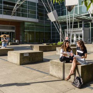 Students studying at the Engineering Building