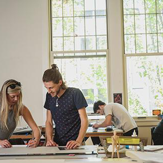 Architecture students in their studio