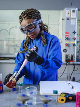 student working in laboratory